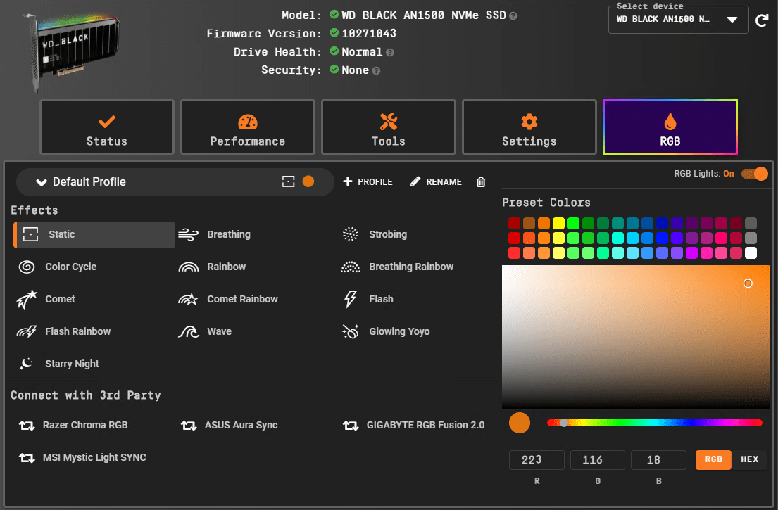 WD_BLACK Dashboard View