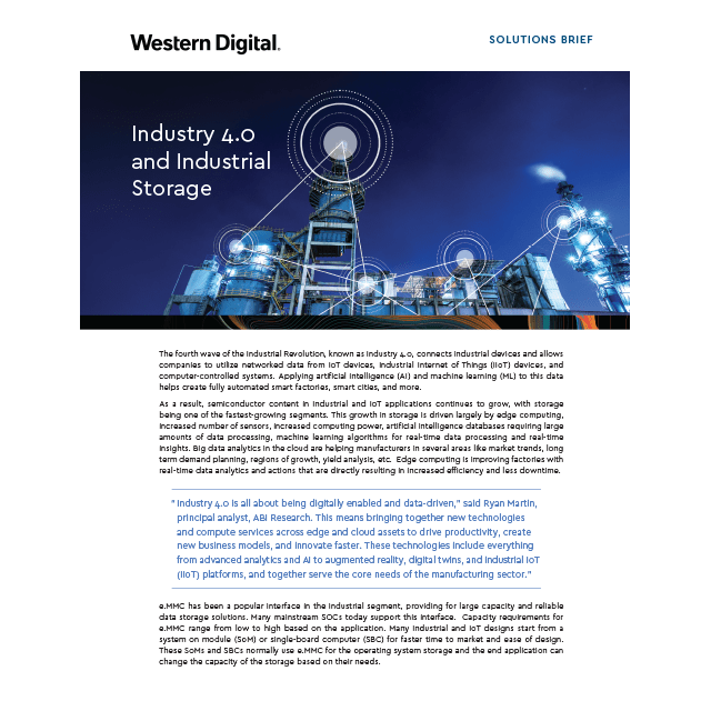 Solution Brief: Industry 4.0 and Industrial Storage