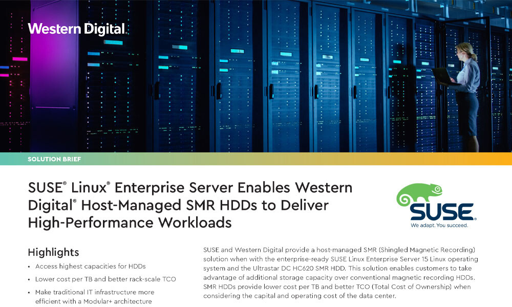 SUSE Linux Enterprise Server Enables Western Digital Host-Managed SMR HDDs to Deliver High-Performance Workload