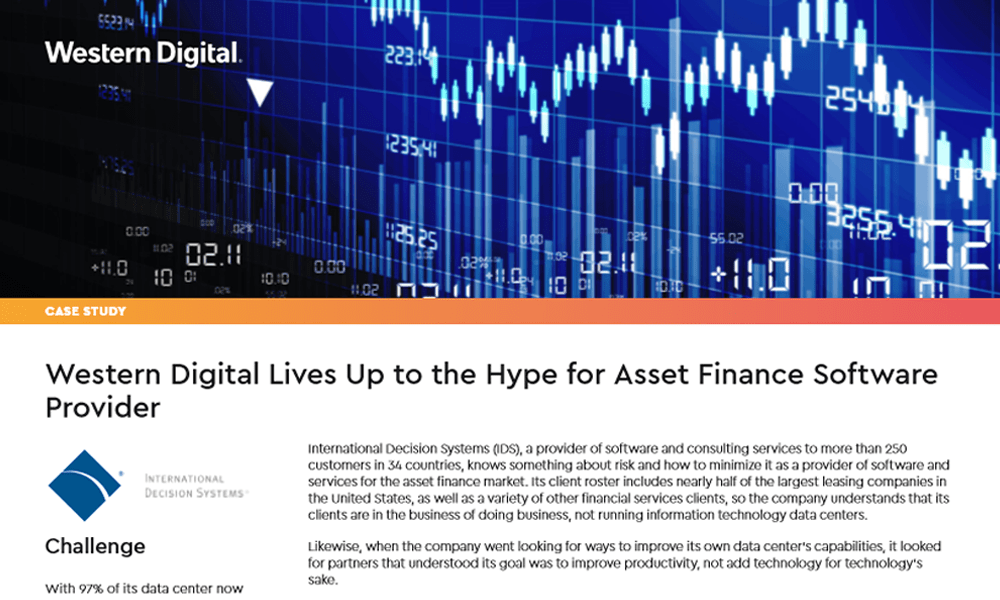 Western Digital Lives Up to the Hype for Asset Finance Software Provider