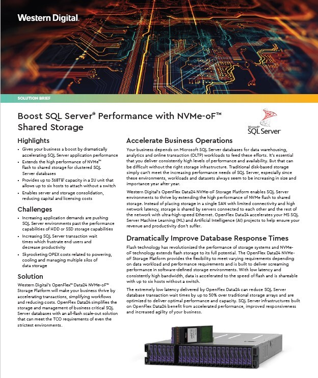Solution Brief - Boost SQL Server® Performance with NVMe-oF™ Shared Storage